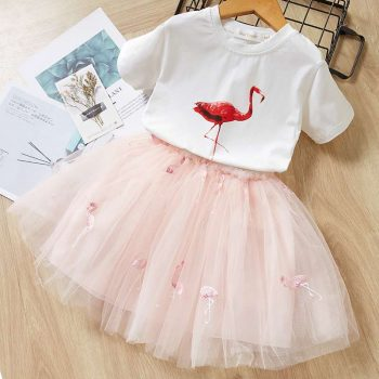 Flamingo Short Sleeve Printed Top and Mesh Skirt 2-pieces Set for Girls