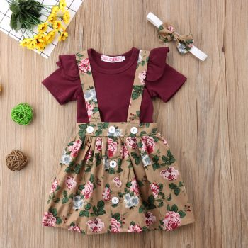 Baby / Toddler Girl Solid Top Floral Skirt Headband 3 Pieces Set