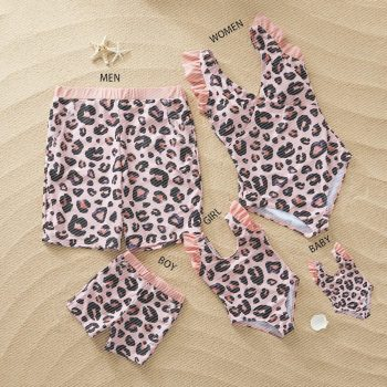 Pink Leopard Print Family Matching Swimsuit