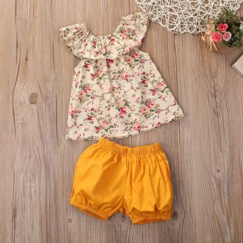 Baby / Toddler Girl Flower Top and Solid Pant Set
