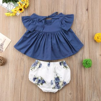 Baby Girl Flutter Sleeve Solid Top Floral Pants Set