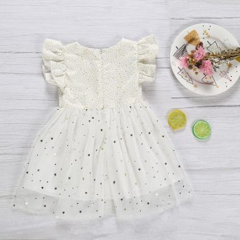 Beautiful Flutter Sleeve Stars Princess Dress for Baby and Toddler Girl