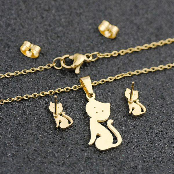 Cat Necklace and Earrings Set