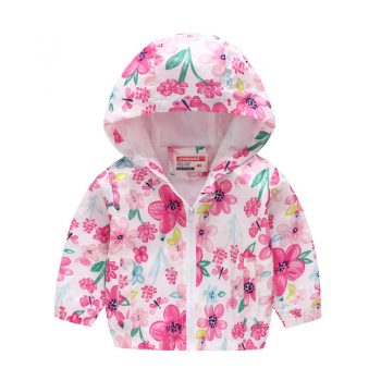 Toddler Girl Hooded Flower Printed Jacket