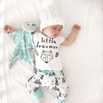 "Baby Girl ""Little dreamer"" Fox Top and Pants Set"