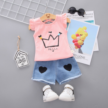 Baby Toddler Girl Print Crown Flutter Sleeve Top Denim Short Set