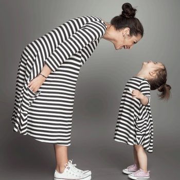Mother & Daugther Striped White and Black Dress