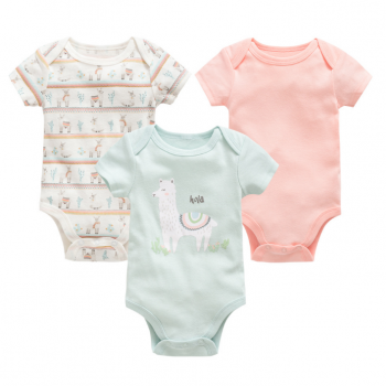 Baby Girl Short Sleeve Onesies 3 pieces Set