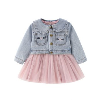 Toddler Girl Long Sleeve Mesh Skirt Dress Bunny Denim Jacket Set
