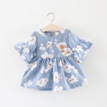 Floral Pattern Ruffled Sleeve Princess Dress for Baby Toddler Girl