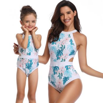 Women & Kid Girl Flower Patterned Matching Swimsuit