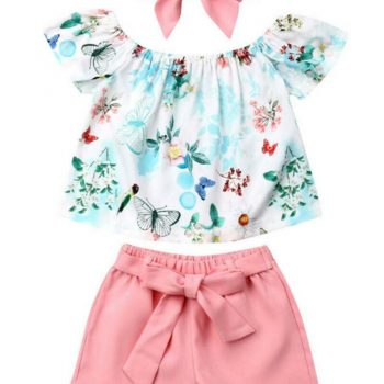 Baby / Toddler Girl Butterfly Short Sleeve Top Solid Pant Set Headband FREE