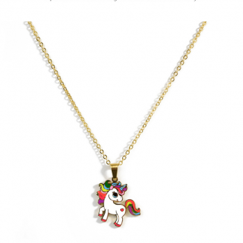 Colorful Unicorn Necklace Earrings Set for Girls