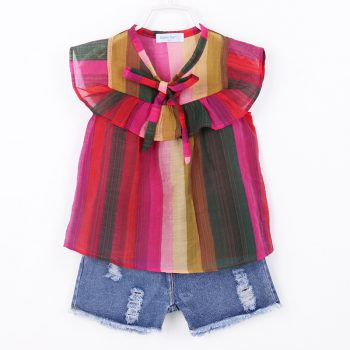 Toddler Girl Striped Top and Denim Ripped Shorts Set