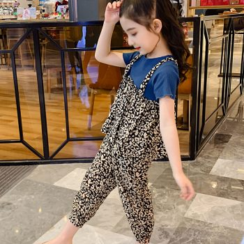 Girl Kid Solid Top Printed Suit 2 pieces Set