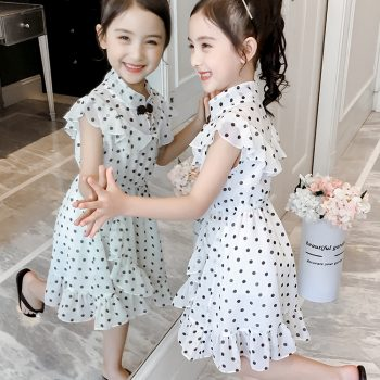 Toddler / Kid Girl Chiffon Ruffled Polka Dot Dress