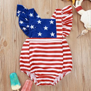 Beautiful Baby Girl American Flag Independence Day Suit