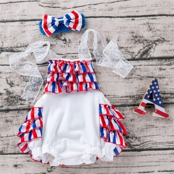 Baby Girl Lace Straps Backless Romper and Headband