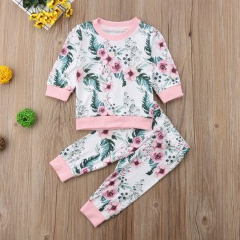Baby Toddler Girl Long Sleeve Flower Print Suit