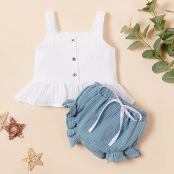 Baby Girl Sleeveless Top Ruffled Leg Short Pants Set