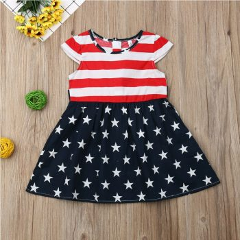Toddler Girl Short Sleeve American Flag Dress