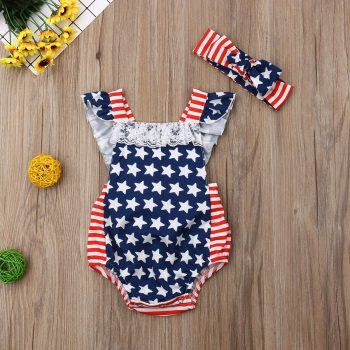 Baby Girl 4th July Independence Day Festive Jumpsuit