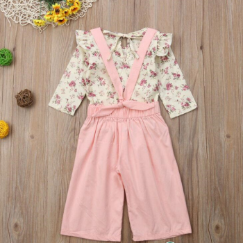 Baby / Toddler Long Sleeve Floral Top Solid Sling Pant Set