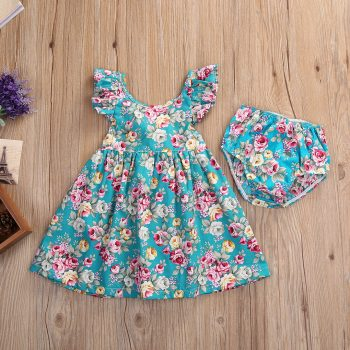 Baby / Toddler Girls Flower Print Flutter Sleeves Backless Dress Set