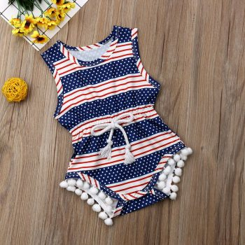 Baby Girl American Flag Independence Day Romper