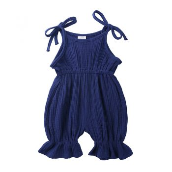 Cute Baby Girl Solid Color Ruffled Leg Strap Shoulder Suit
