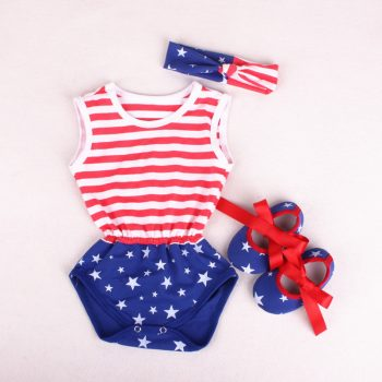 Baby Girl Independency Day Bodysuit Headband Set